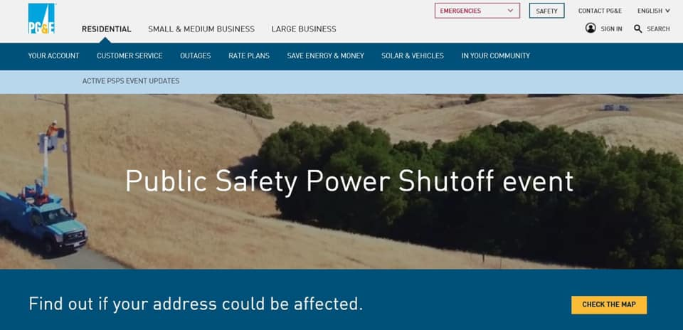 PGE Power shutoff