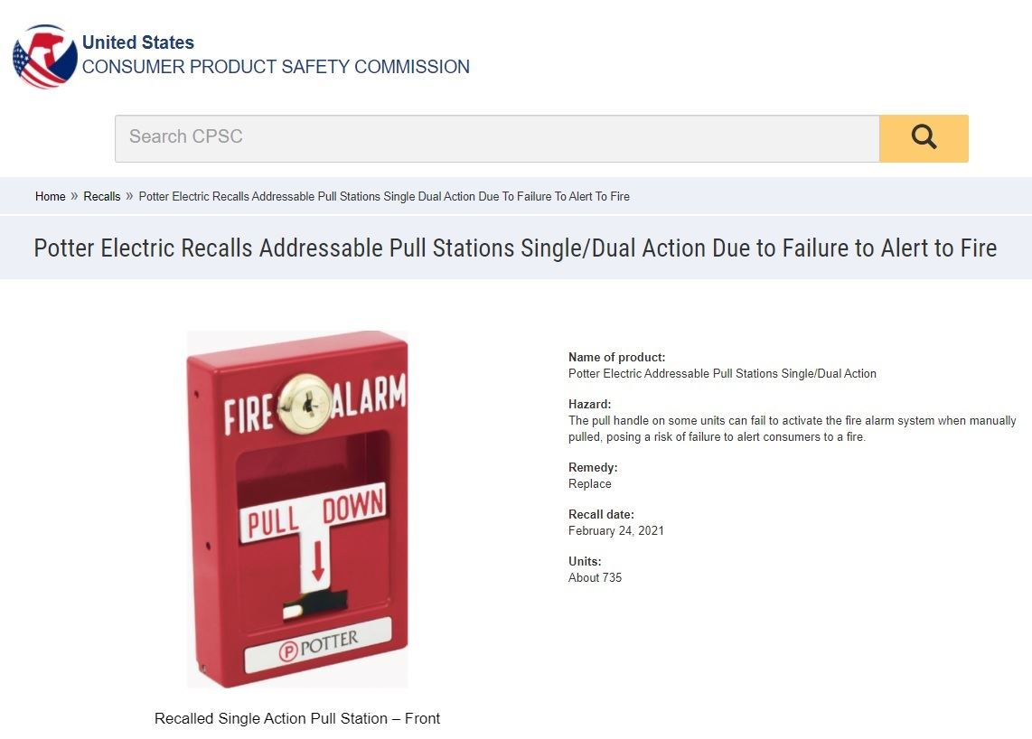 Potter Fire Alarm Recall CPSC Notice 2-2021